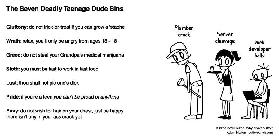 The Seven Deadly Teenage Dude Sins
